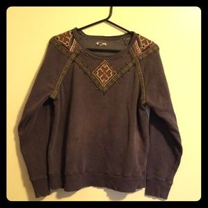 Ecoté Embroidered & Studded Dusty Purple Crewneck